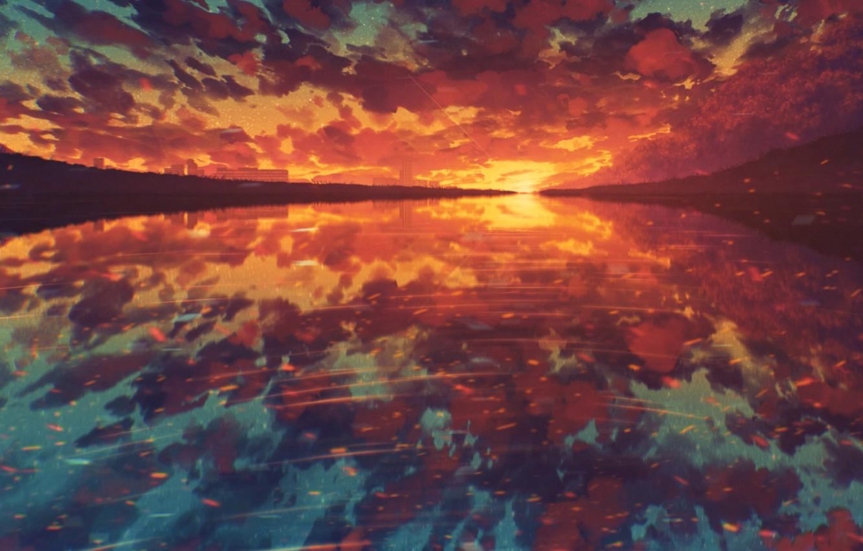 Photo wallpaper water, sunset, nature, by Miloecute