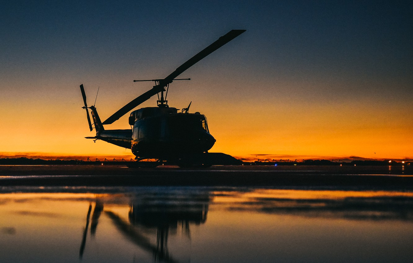 Photo wallpaper Bell Helicopter Textron, American multi-purpose helicopter, UH-1N Iroquois, The first production model of the Bell …
