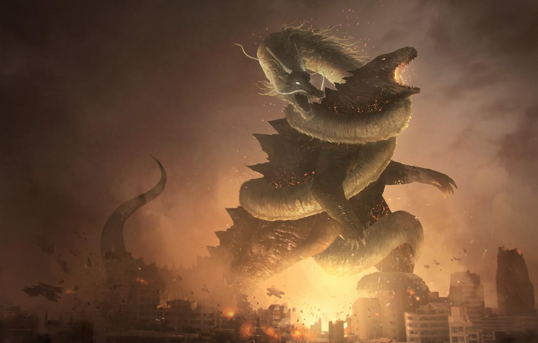 Photo wallpaper Figure, The city, Dragon, Fire, Battle, Destruction, Dragon, Godzilla, Art, Godzilla, Fantasy, by Franklin Chan, ...
