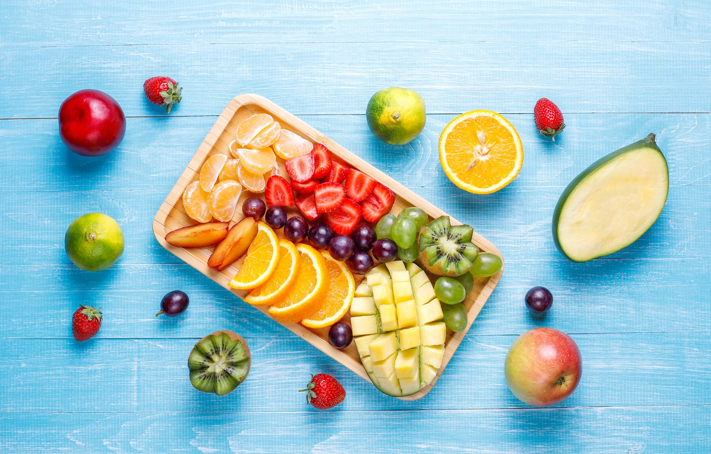 Photo wallpaper berries, Apple, kiwi, strawberry, grapes, fruit, mango, Mandarin, cuts