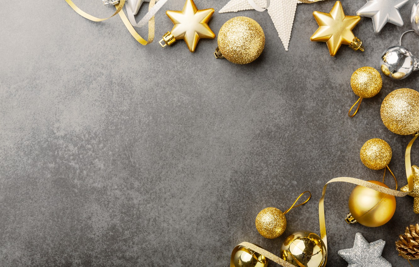 Photo wallpaper decoration, gold, balls, New Year, Christmas, golden, Christmas, balls, background, New Year, decoration, Merry