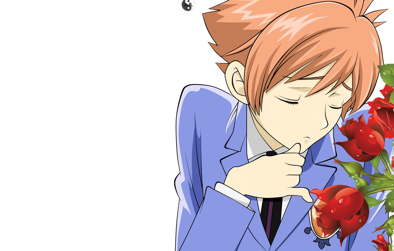 Wallpaper roses, guy, Host club Ouran