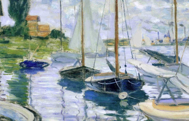 Photo wallpaper landscape, house, river, boat, picture, sail, Claude Monet