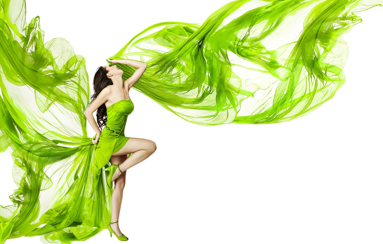 Photo wallpaper girl, pose, dance, makeup, figure, dress, brunette, hairstyle, shoes, white background, fabric, legs, green
