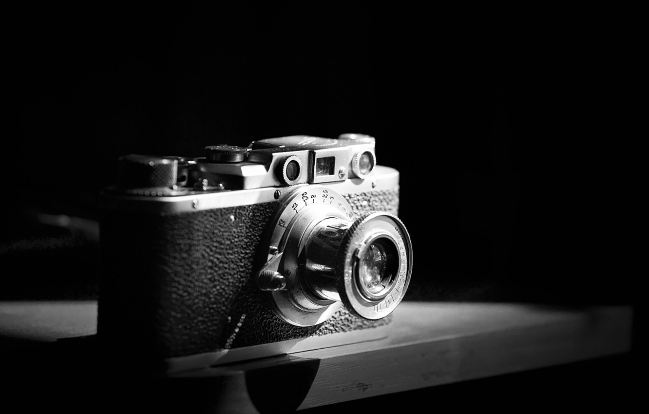 Photo wallpaper retro, USSR, Fed, the camera, cameras, black and white, photographer Alexander butchers, old camera