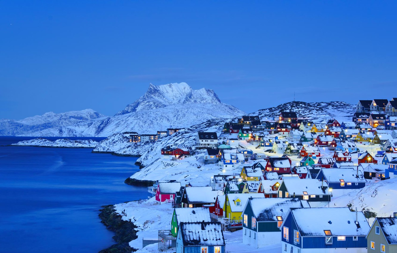 Photo wallpaper winter, sea, snow, mountains, lights, home, Greenland, Nuuk