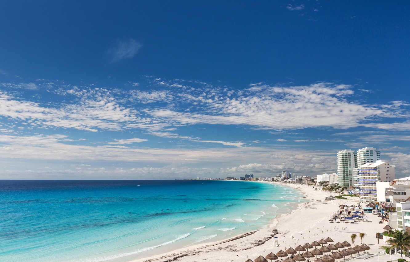 Wallpaper Sand Sea Beach The Sky The Sun Clouds Landscape Palm Trees Coast Home Horizon Mexico Hotels Cancun Beach Images For Desktop Section Gorod Download