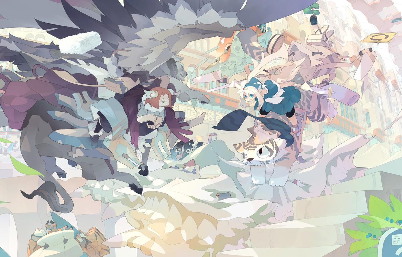 Photo wallpaper Girls, Animals, Fantasy, Art, akitsu taira