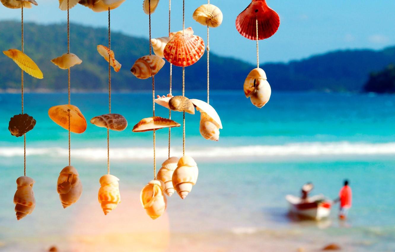 Photo wallpaper sea, boat, shell, blur