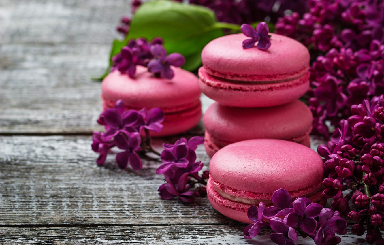 Photo wallpaper wood, pink, flowers, lilac, macaroons, macaron, lilac, macaroon