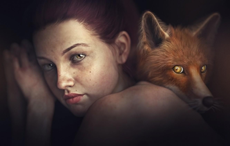 Photo wallpaper look, girl, rendering, background, portrait, Fox, brown hair