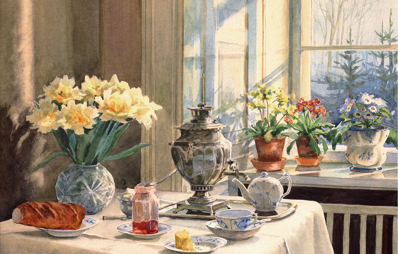 Photo wallpaper flowers, table, kettle, window, vase, samovar, jam, baton, Olga Kulikovskaya-Romanova, pots