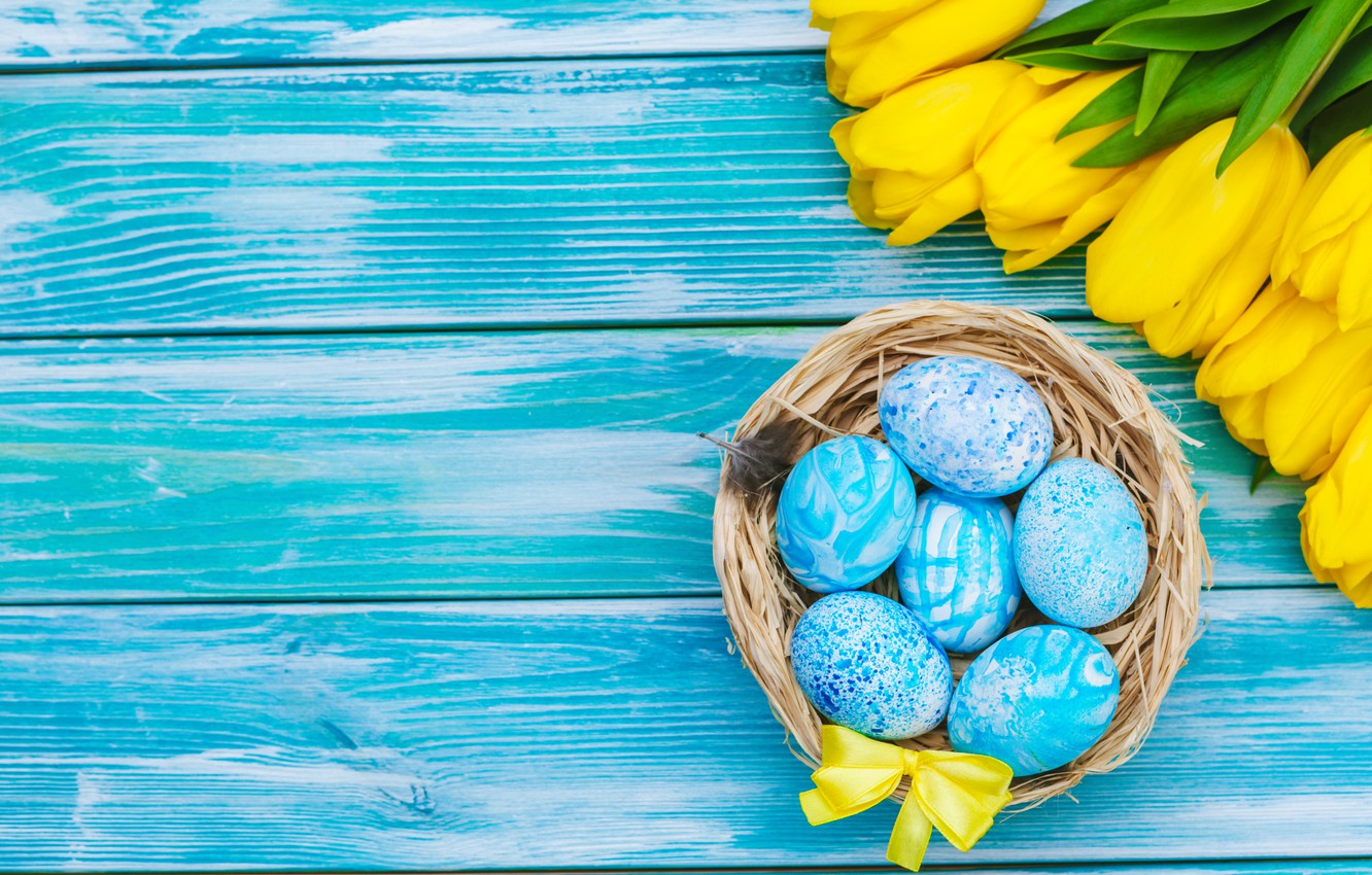 Photo wallpaper flowers, eggs, bouquet, yellow, colorful, Easter, tulips, happy, yellow, wood, flowers, tulips, Easter, eggs, decoration
