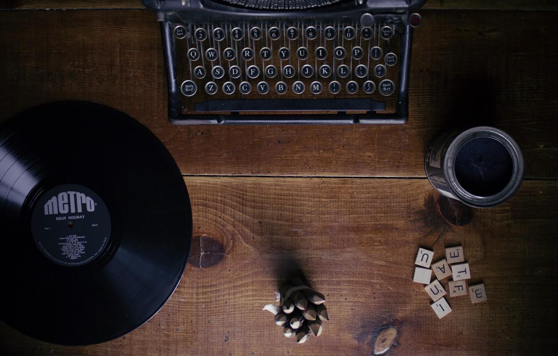 Photo wallpaper letters, table, tree, vinyl, typewriter