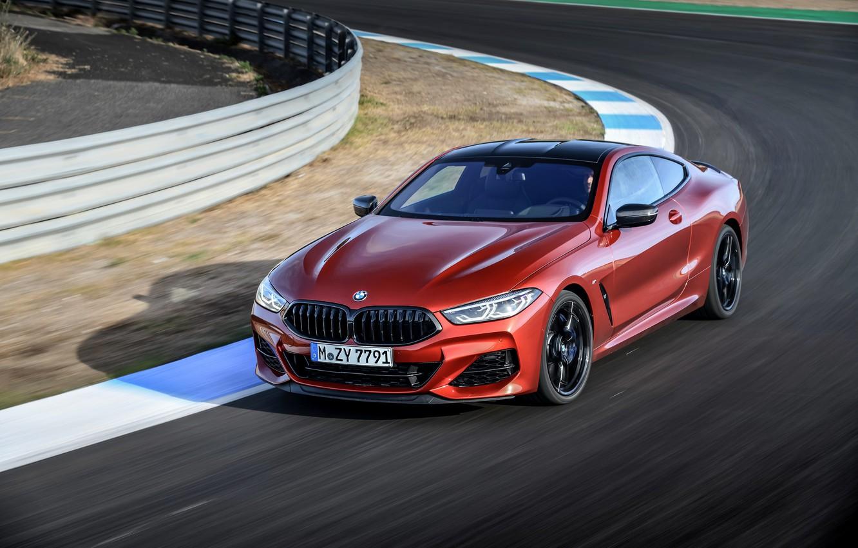 Photo wallpaper coupe, track, round, BMW, Coupe, 2018, 8-Series, dark orange, M850i xDrive, Eight, G15