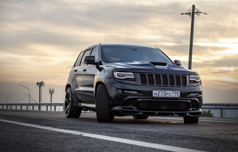 Photo wallpaper road, sunset, srt, road, srt8, jeep, jeep grand cherokee, jeeper, jeep srt, ingushetia, Ingushetia, Nazran, …