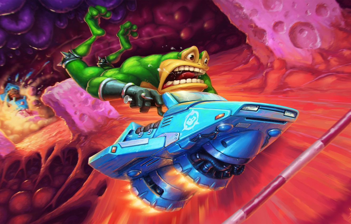 Photo wallpaper The game, Bike, Toad, Battletoads, Game Art, Toad, Zitz, Battle Toads, Fan Art, Turbo Tunnel, …