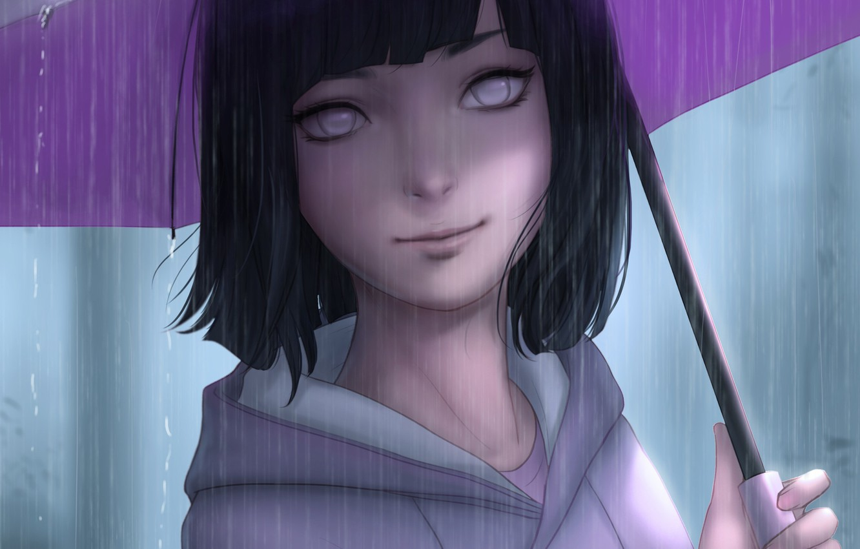 Photo wallpaper umbrella, rain, umbrella, girl, Naruto, Naruto, Hinata Hugo