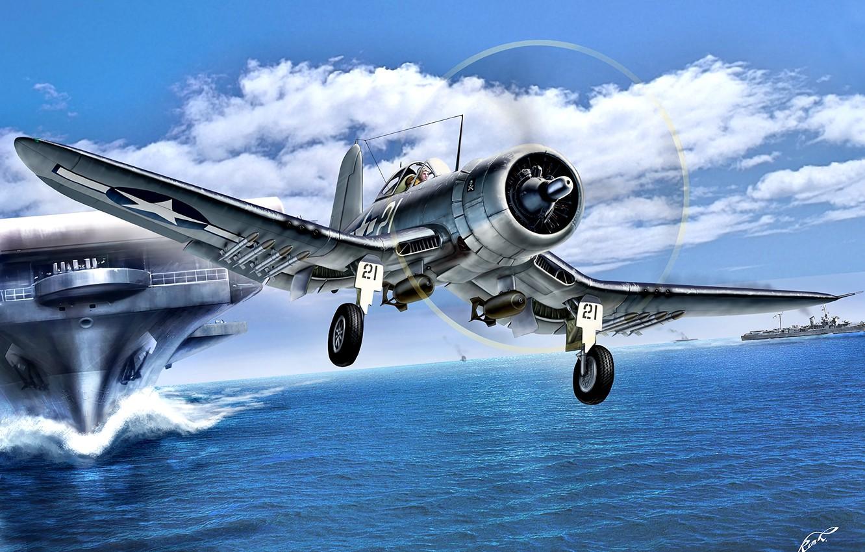Photo wallpaper sea, ships, fighter, missiles, the carrier, USA, Corsair, deck, F4U-1D, HVAR, bombs, VF-17