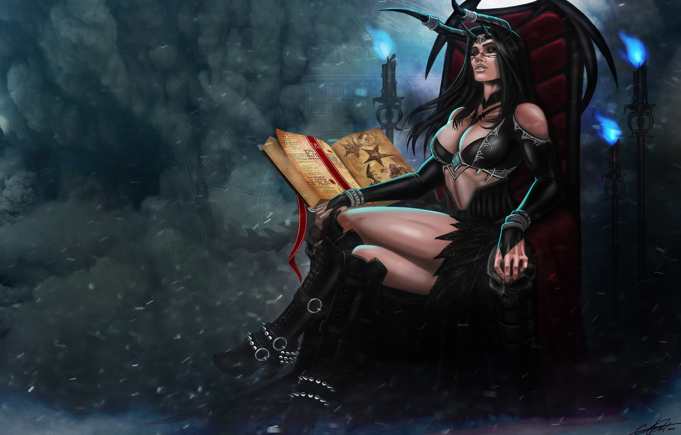 Photo wallpaper Girl, Book, Girl, Darkness, Horns, Dragon, Art, Beautiful, Art, Devil, Succubus, Darkness, Fiction, Illustration, Succubus, …