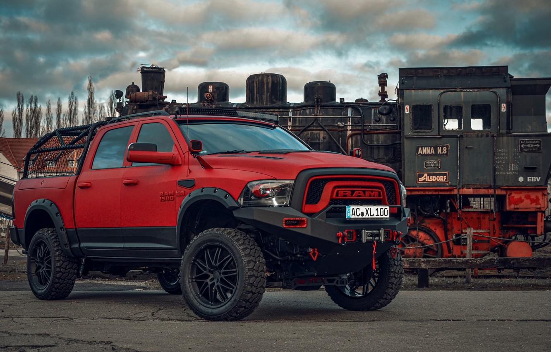 Photo wallpaper red, Dodge, pickup, 1500, Ram, Crew Cab, Limited, air suspension, JB Car Design