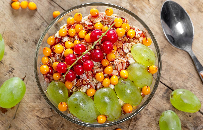 Photo wallpaper berries, grapes, currants, muesli