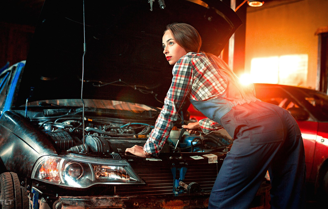 Photo wallpaper machine, ass, light, pose, Girl, mechanic, service, Aleksandr Suhar, Catherine Sosina