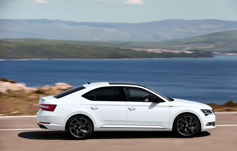 Photo wallpaper white, coast, sedan, Skoda, Skoda, 2016, Superb, Sportline