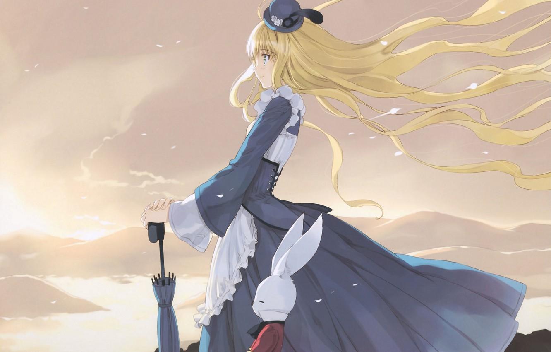 Photo wallpaper river, the wind, hills, umbrella, hat, Alice in Wonderland, ears, long hair, Alice in Wonderland, ...