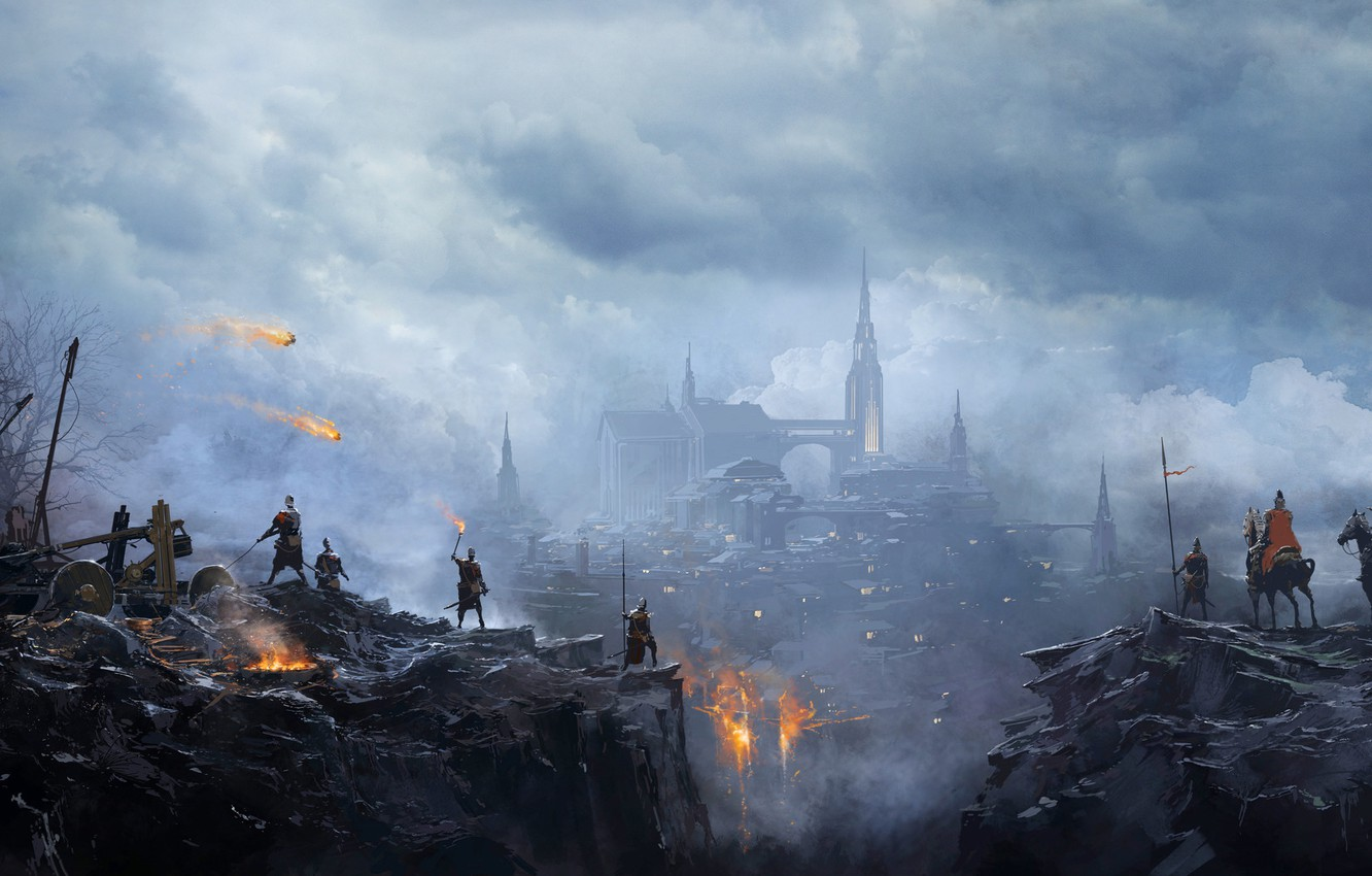 Photo wallpaper The city, Fire, People, City, Battle, Fantasy, Fire, Fiction, War, War, Attack, Battle, Attack, People, ...