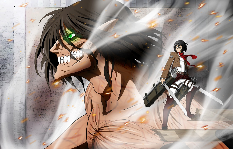 Wallpaper Anime Art Titan Mikasa Shingeki No Kyojin Eren Attack Of The Titans Images For Desktop Section Syonen Download