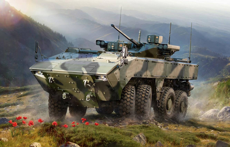 "Photo wallpaper Russia, armored vehicle, Combat, Boomerang, Unified combat platform ""boomerang"""