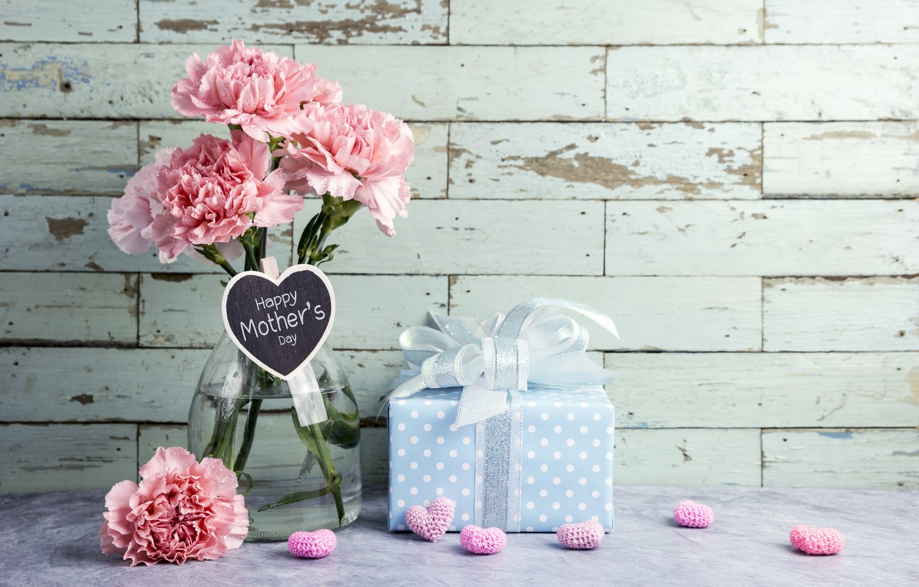 Photo wallpaper flowers, gift, hearts, love, pink, happy, pink, flowers, beautiful, romantic, hearts, gift, clove, mother's day, ...