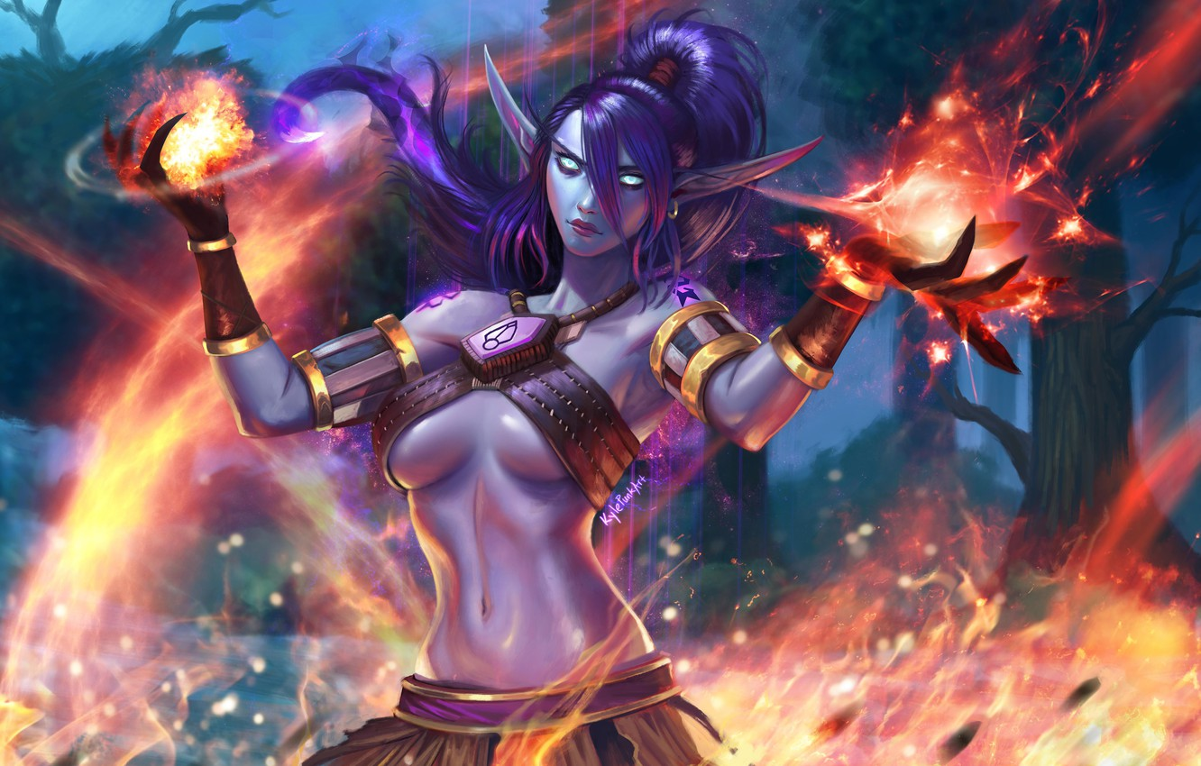 Wallpaper Fire Magic Flame Wow Fire Blizzard Elf