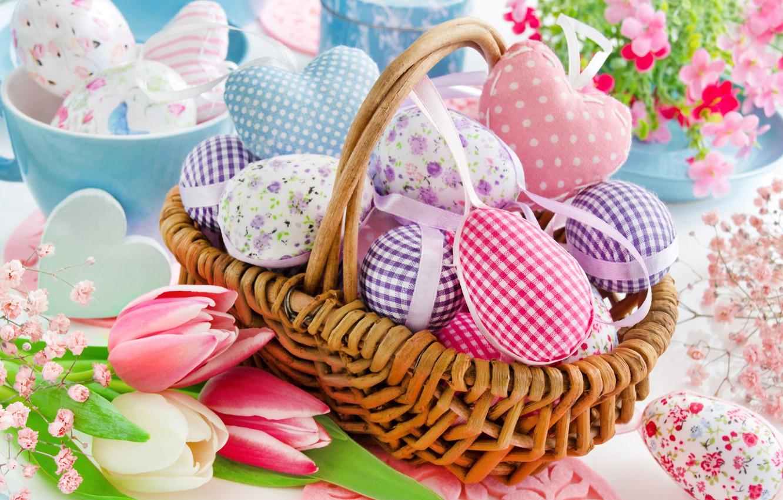 Photo wallpaper basket, Easter, tulips, Easter