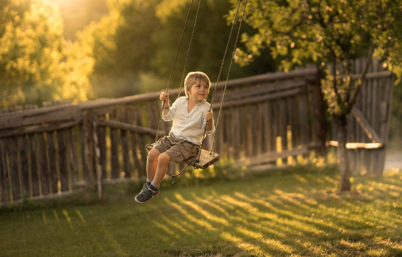 Photo wallpaper childhood, swing, boy
