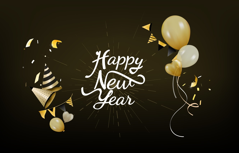 Photo wallpaper holiday, balls, new year, black background, new year, decoration, Happy, Celebration