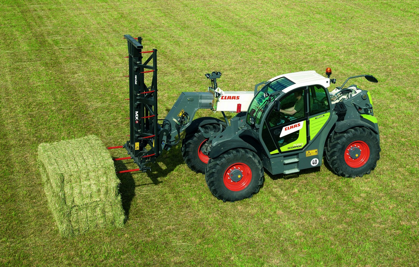 Photo wallpaper field, grass, Claas, telehandler, Scorpion 7050