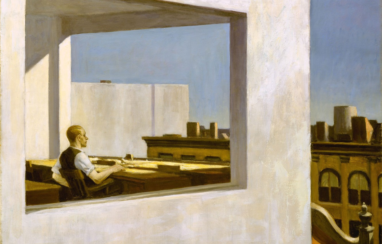 Photo wallpaper 1953, Edward Hopper, Office in a Small City