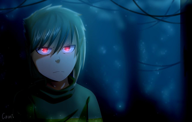 Wallpaper red eyes, dark forest, in the dark, evil eye, damn