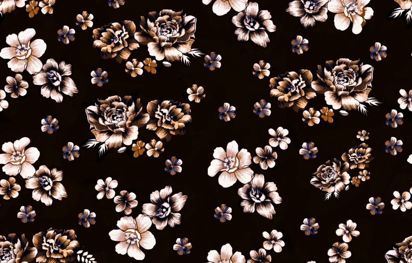 Wallpaper Flowers Background Black Brown Background Pattern