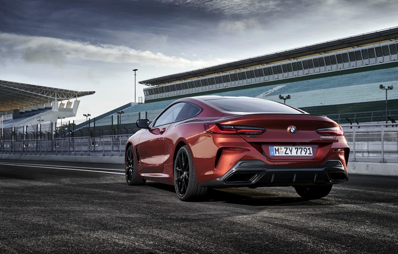 Photo wallpaper asphalt, coupe, BMW, back, side, Coupe, 2018, 8-Series, dark orange, M850i xDrive, Eight, G15