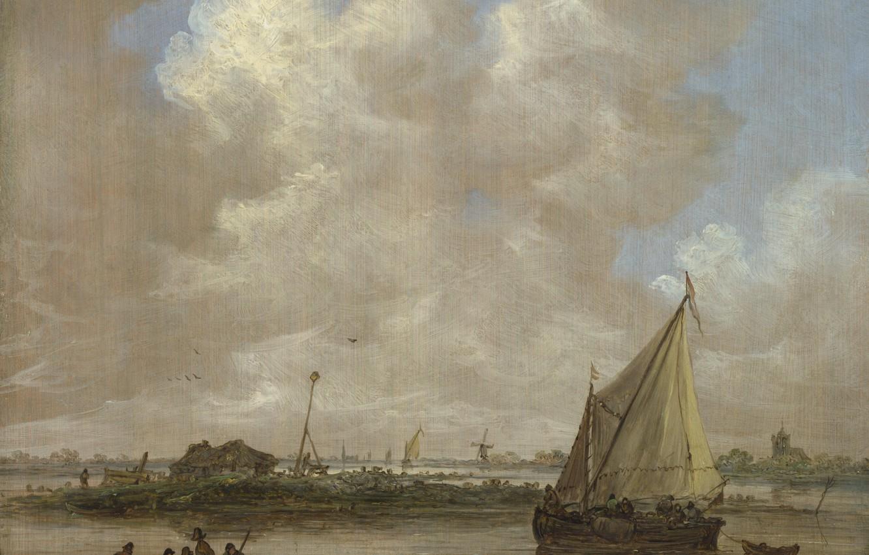 Photo wallpaper landscape, picture, sail, Jan van Goyen, Jan van Goyen, River view from the hut on …