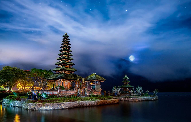 Wallpaper Landscape Night Lake The Moon Bali Indonesia