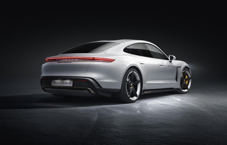 Photo wallpaper Porsche, rear view, Turbo S, 2020, Taycan