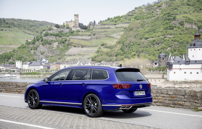 Photo wallpaper blue, Volkswagen, on the shore, universal, Passat, R-Line, Variant, 2019