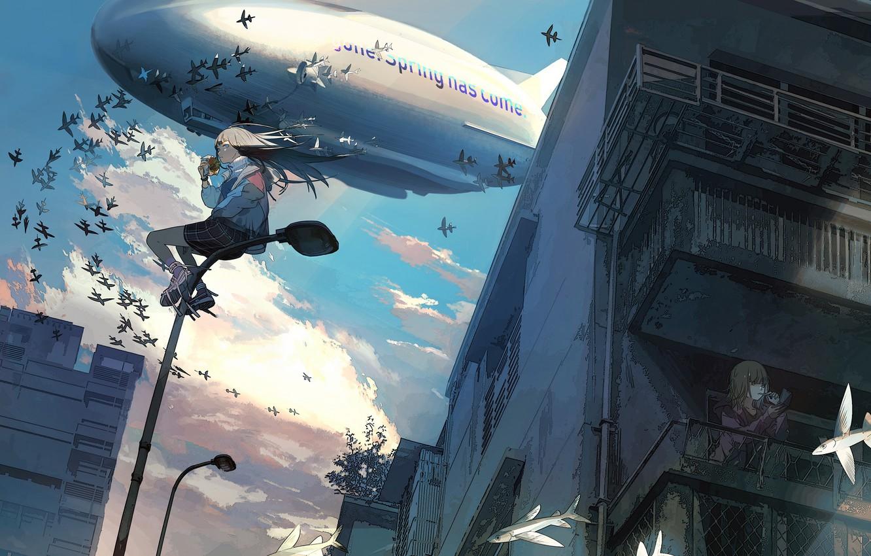 Photo wallpaper the city, girls, dirigible