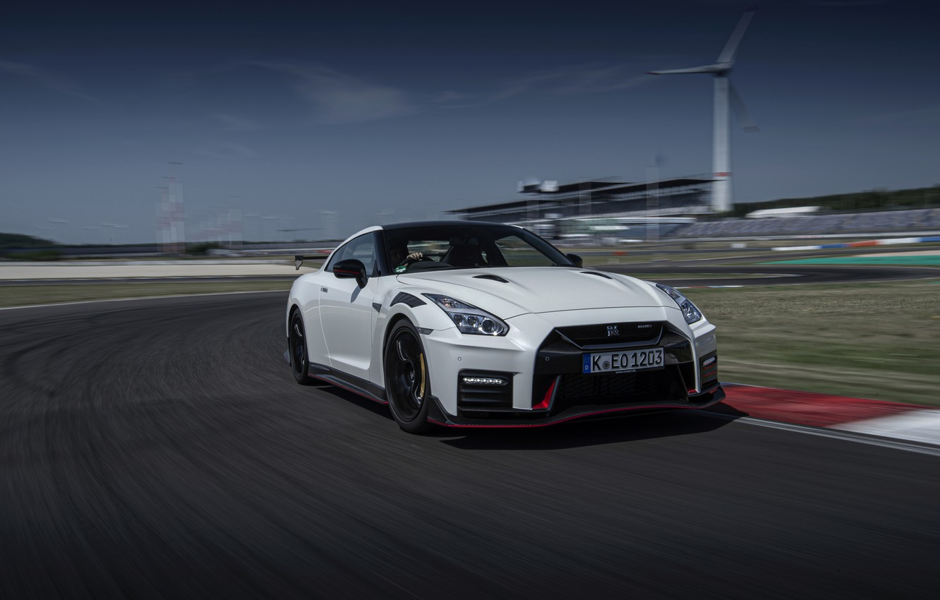 Photo wallpaper white, Nissan, GT-R, track, R35, Nismo, 2020, acceleration, 2019