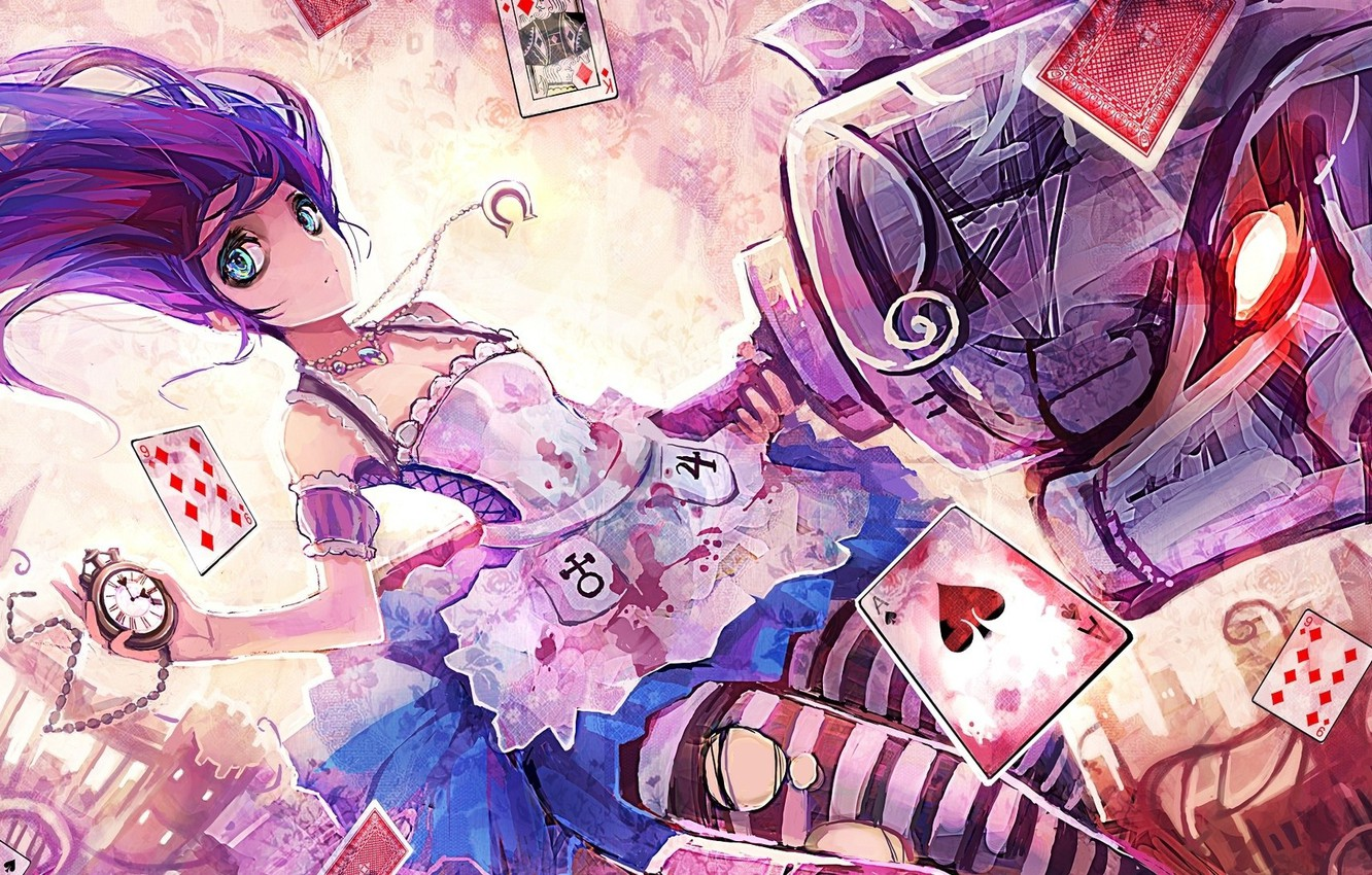 Photo wallpaper Alice, Alice Madness Returns, torn clothes, potion, evil eye, playing cards, pocket watch, madness returns, …