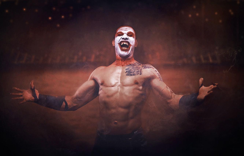 Photo wallpaper pose, laughter, hands, clown, tattoo, arena, torso, makeup, Sergey Stepanov
